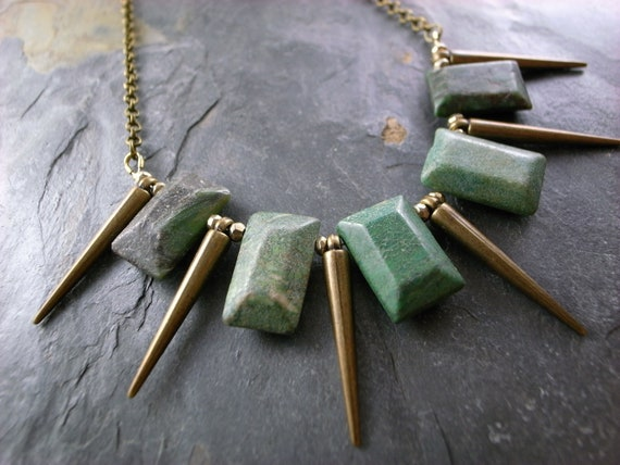 Jade Rectangle, Pyrite & Spike Necklace - Urban Tribal Necklace - Magpie Rocks