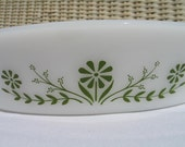 Vintage Glasbake Green Daisy  Number J2352 Divided Oval Casserole Vegetable Dish Retro Kitchen