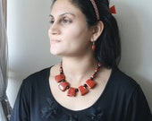 Red and Black Necklace -Red Chunky Necklace -Geometric Shape Necklace