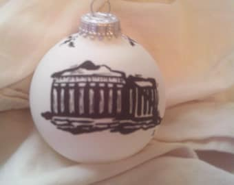 Hand painted Parthanon on a Christmas ball