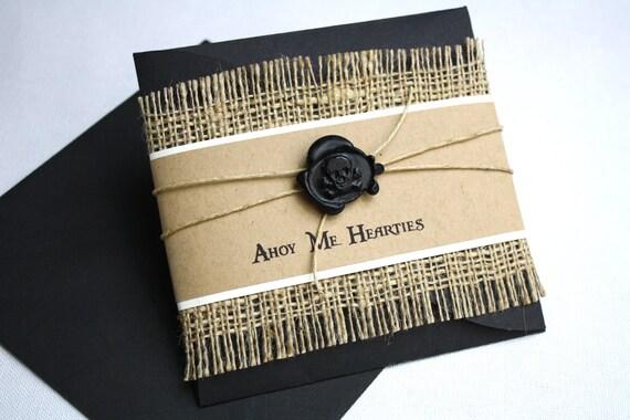 Pirate Birthday Invitation - Petal Enclosure, Black Skull & Cross Bone Wax Seal, Multi-Layered Invitation