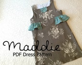 Maddie - Girl's Ruffled Dress PDF Pattern. Girl Kid Toddler Child Sewing Pattern. Easy Sew Sizes 12m-10 included
