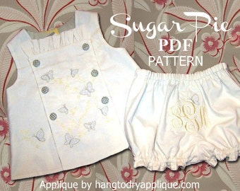 Sugar Pie Reversible Bib, Top and Bloomer Pattern. Clothing PDF Sewing Pattern for Baby Toddler. Sizes 1/2, 1, 2, 3, included