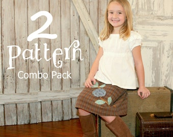 2 Pattern Combo - includes the Vintage Rose Skirt and the Sweet Cheeks Top Girl PDF Sewing Pattern Sizes 1-10