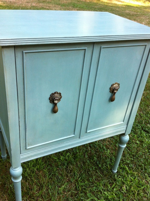 RESERVED FOR SUSAN Furgeson Cabinet Painted in Annie Sloan Chalk Paint Duck Egg