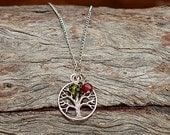 Family Tree Birthstone Necklace, Mothers Necklace- 2 Birthstones