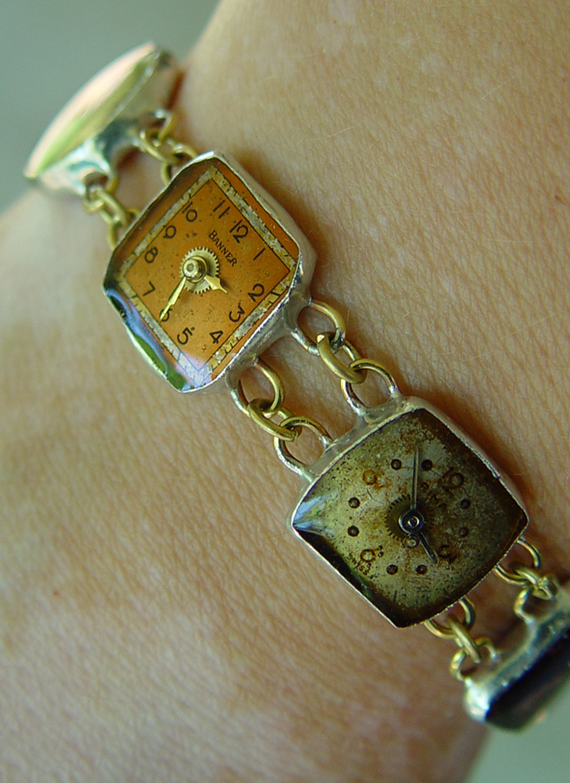 """Found watch parts bracelet, """"A Matter of Time"""""""