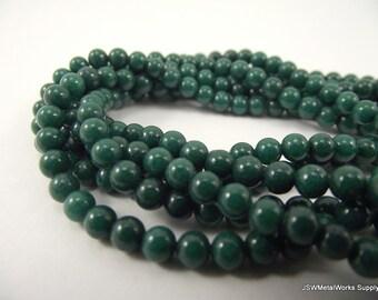 Mountain Jade Round Beads, Dark Green, 4mm, 16 Inch Strand, Whole Strand