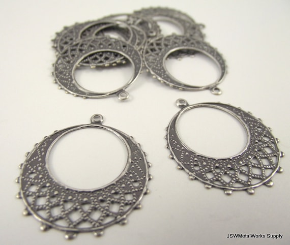 Antiqued Silver Round Filigree Drop, 25mm, 10 Pieces