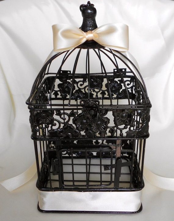Your color black or white birdcage centerpiece money card box