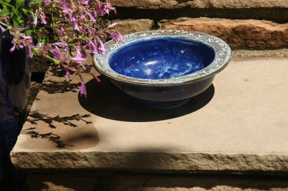 Royal Blue Bowl with Vine design on Rim - Hand thrown, stoneware pottery