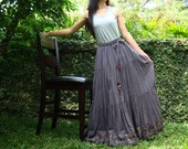 NO.25  Grey Cotton, Hippie Gypsy Boho Tiered Long Peasant Skirt