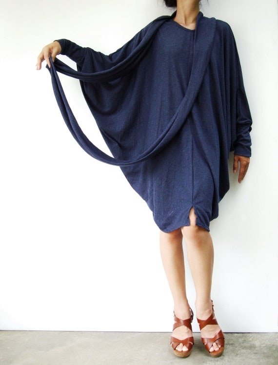 NO.57 Dark Blue Viscose Oversize Sweater With Infinity Scarf  Tunic Dress, Cocoon Day Dress