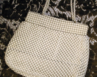 Vintage Corde Bead Style Ivory Evening Bag Purse Alumesh Whiting & Davis Co. Bags  1930s 1940s Made in USA