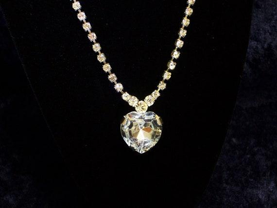 Vintage Necklace Victorian Style Rhinestone Heart Pendant  Wedding