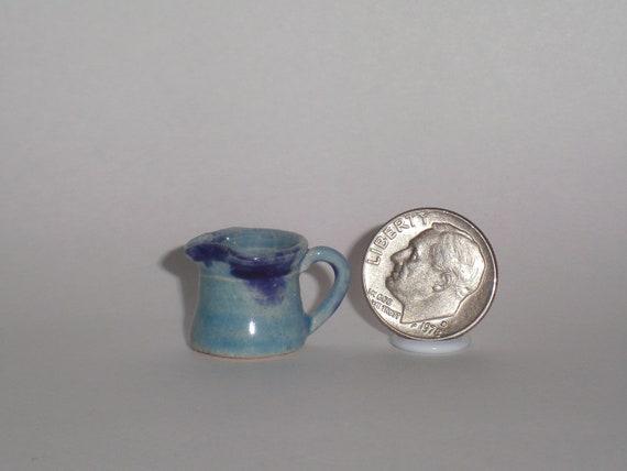 New Handmade Wheel Thrown Pottery Miniature Blue Pitcher