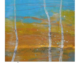 """Original Birch Tree Abstract Acrylic Lanscape Painting 24""""x24"""" Square painting"""