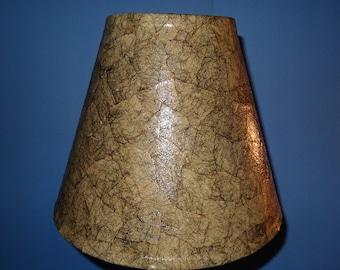 Tan Lampshade - Medium Decoupage Shade using Handmade Tan Paper with Black Fibers