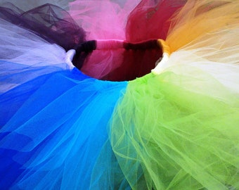 RAINBOW TUTU party rave steampunk skirt for Size teen through adult.  Custom tutus ARE available