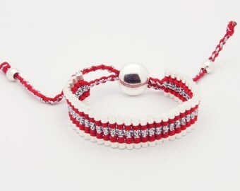 Link Friendship Bracelet - Red Silver Strips - (One Direction)