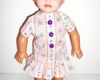 AG Dress with Orange Stripes and Purple Flowers and Buttons for American Girl (DC78)