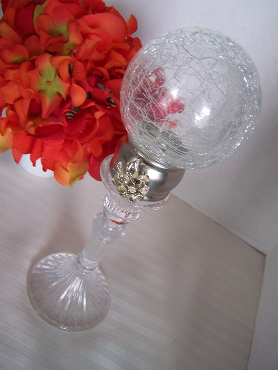 SALE 20% off Embellished Crackled glass ball crystal finial