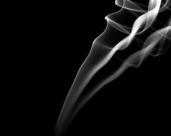 Smoke Black & White Photo Print 8x10 Fine Art Print Abstract Picture Incense Smoke Art