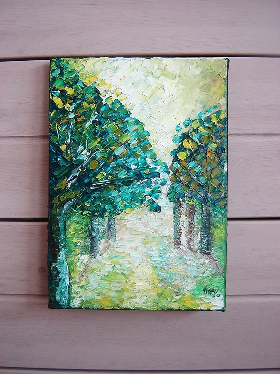 Forest, Original Painting, Oil, Palette knife, Textured painting.