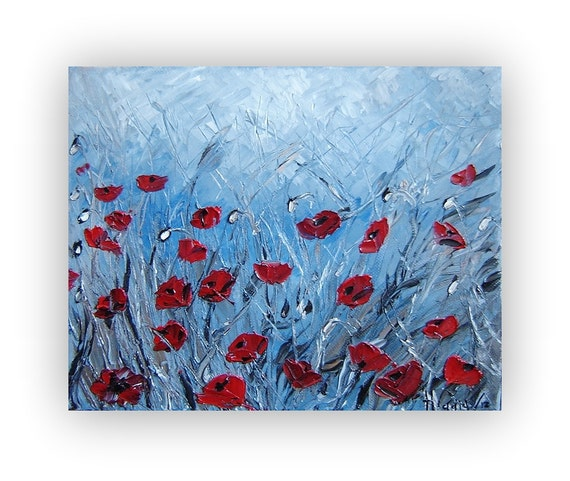 Original Painting. Oil On Canvas. Poppies Painting. Textured Floral painting. Modern Painting. Palette Knife. Art Deco. Modern Painting.