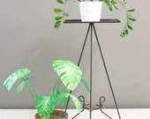 Mid-Century Tall Metal Wire Plant Stand / Pedestal Table
