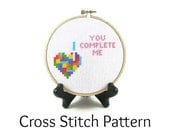 Tetris Heart - You Complete Me Cross Stitch Pattern
