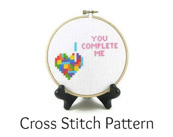 Tetris Heart - You Complete Me Cross Stitch Pattern