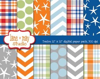 digital scrapbook papers - red, orange, blue, gray and green preppy surfer patterns - INSTANT DOWNLOAD