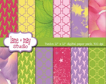 tinkerbell fairy theme patterns - digital scrapbook papers - INSTANT DOWNLOAD