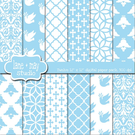 baby blue baptism digital scrapbook papers INSTANT by ...