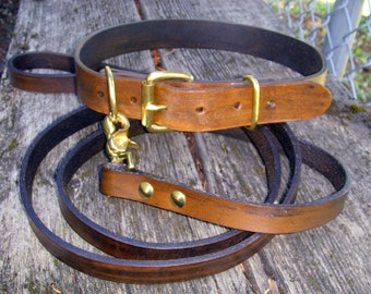 Classic leather dog collar and leash set, Brown Dog Collar and Leash, Collar and Matching Leash, Pet Collar and Leash