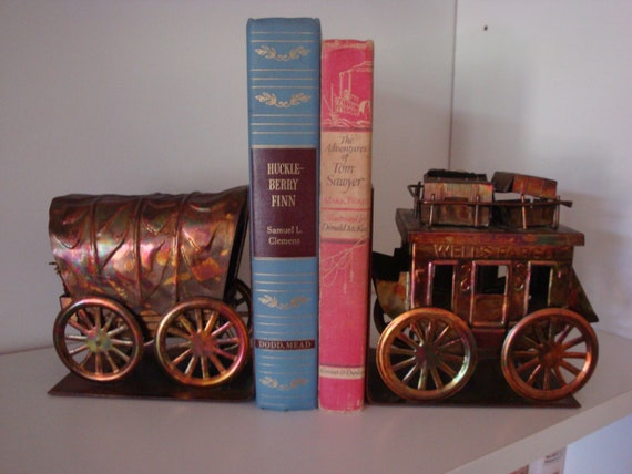 Western Wagon Stage Coach Bookends