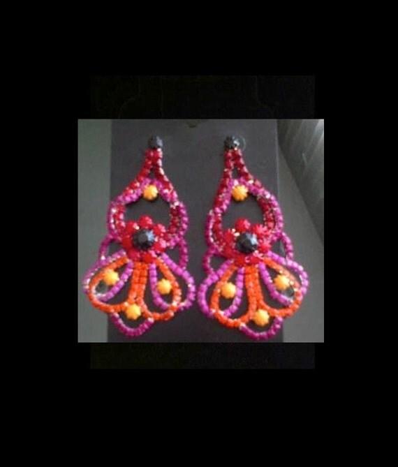 Handpainted Rhinestone Earrings