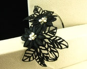 Hand Beaded Floral Lace Headband