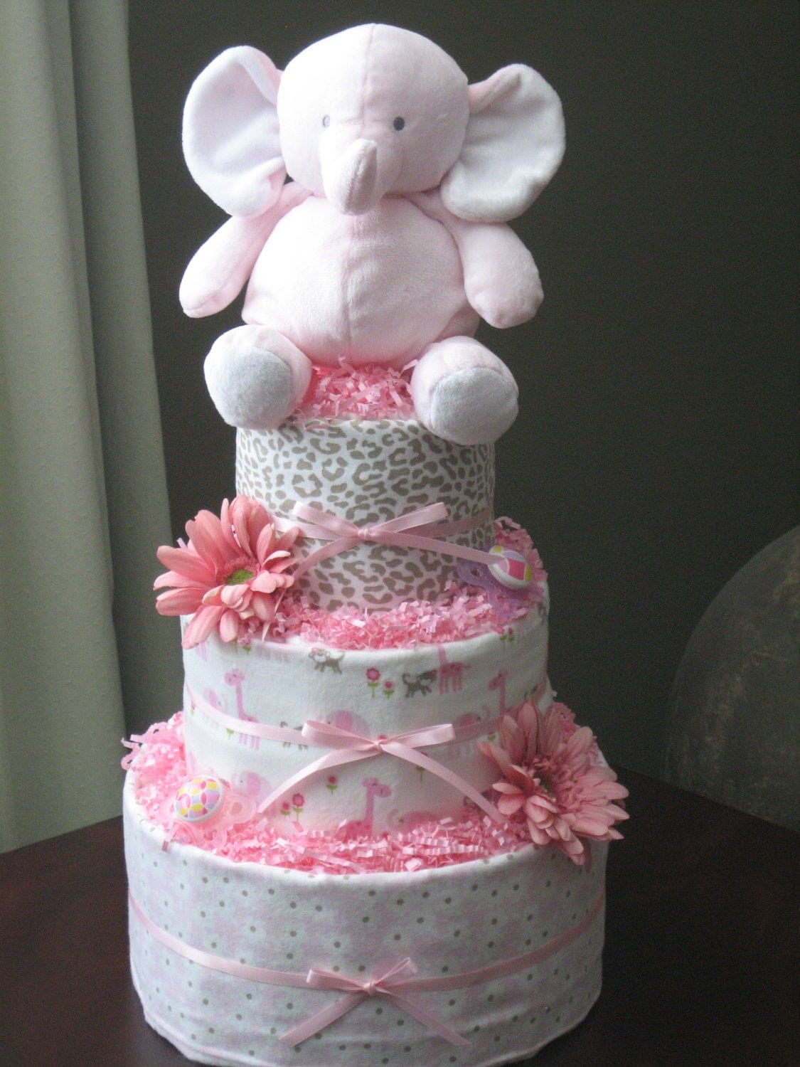 Pink Elephant Diaper Cake for Baby Girl by ...