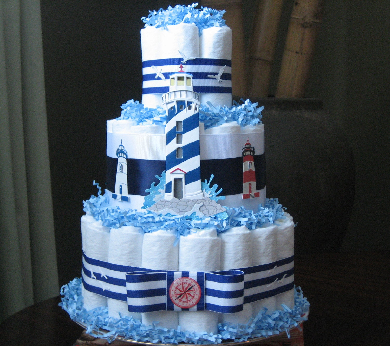 Nautical Sailor Diaper Cake For Baby By MrsHeckelDiaperCakes