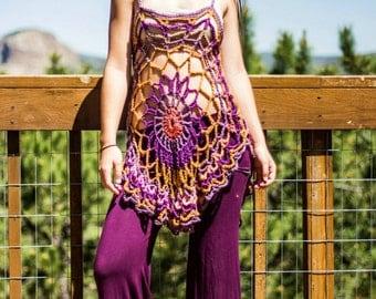 Crochet mandala tunic /dress / swimsuit coverup