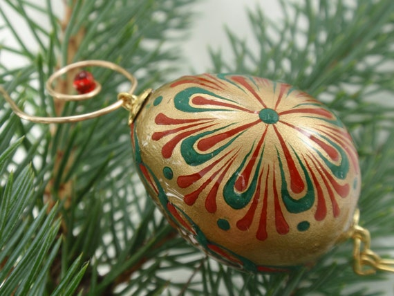Pysanky Quail Egg Christmas Ornament , Wax Embossed Pysanka, Hand Painted Ornament in Gold