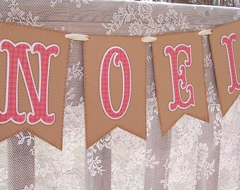 Rustic Christmas Decor - NOEL - Rustic Banner - Country Christmas - Primitive Style Christmas Holiday Banner