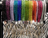 Rhinestone Bling Wristlet Lanyard with key ring, clasp and cell phone strap