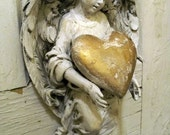 Hand painted distressed angel figurine holding golden heart shabby chic decor ooak Anita Spero
