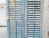 French Blue shabby vintage wooden shutter distressed beachy cottage decor Anita Spero