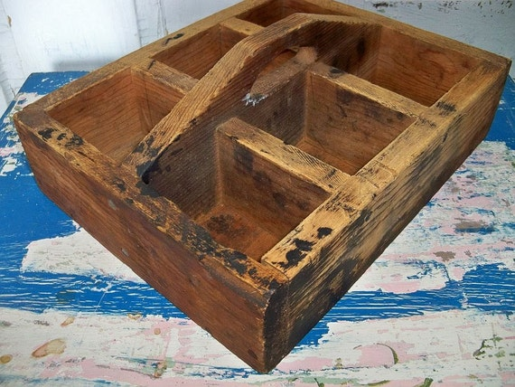 Handmade vintage primitive wood tool box rustic wooden tote with handle Anita Spero