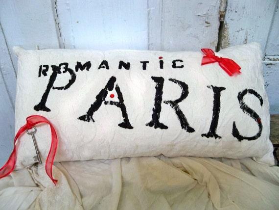 Paris chic white accent pillow hand painted red black throw home decor Anita Spero