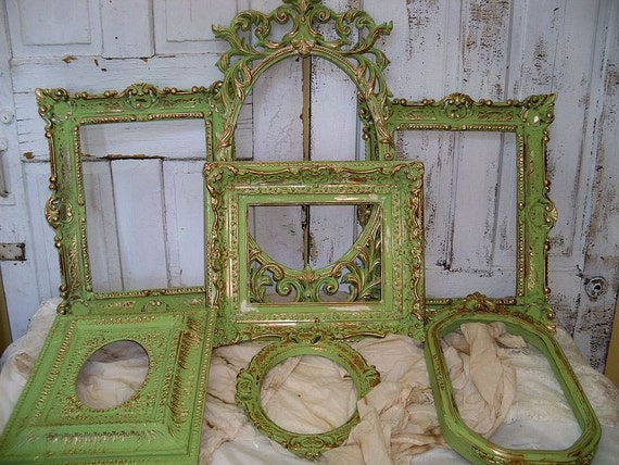 Large frames grouping hand painted Shabby chic french inspired distressed wall decor ooak Anita Spero